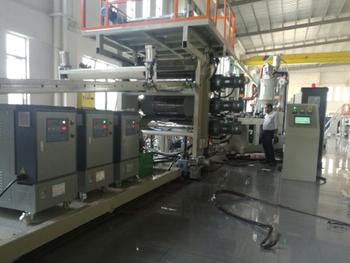 Safary company inspects their 3rd PC luggage sheet machine in our factory